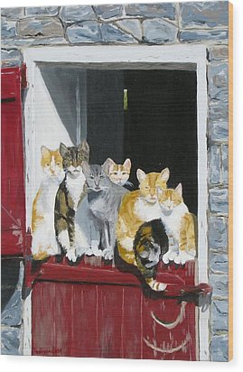 Biddles Barn Kitties Wood Print