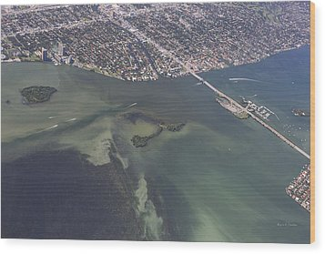 Bidr's Eye View Of Beautiful Miami Beachfront Wood Print by Angela A Stanton