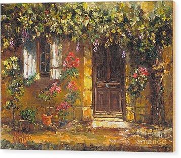 Bienvenue A' Provence Wood Print by Patsy Walton
