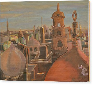 Wood Print featuring the painting Bienvenue Au Caire by Julie Todd-Cundiff