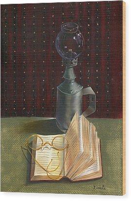 Wood Print featuring the painting Bifocal Read by Doreta Y Boyd