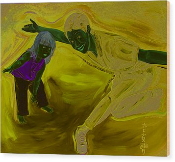 Big And Little Women Dancing Wood Print by Kevin Callahan