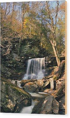 Big Autumn View At B. Reynolds Falls Wood Print by Gene Walls