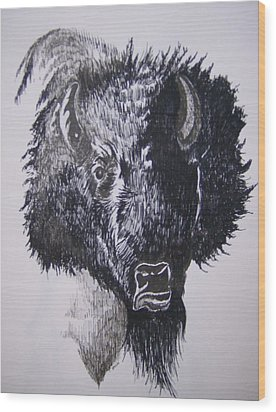 Wood Print featuring the drawing Big Bad Buffalo by Leslie Manley
