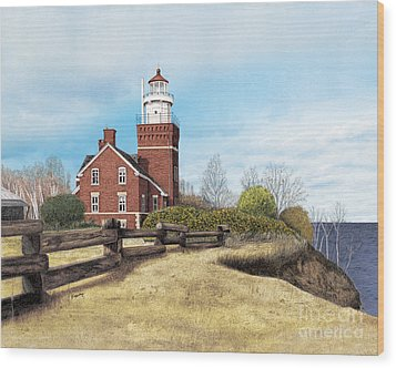 Big Bay Point Lighthouse Wood Print by Darren Kopecky