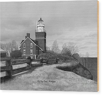 Big Bay Point Lighthouse Titled Wood Print by Darren Kopecky