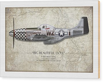 Big Beautiful Doll P-51d Mustang - Map Background Wood Print by Craig Tinder
