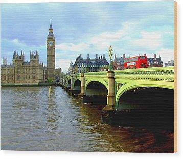 Big Ben And River Thames Wood Print