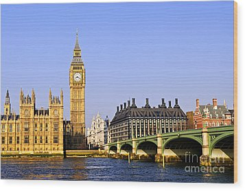 Big Ben And Westminster Bridge Wood Print by Elena Elisseeva