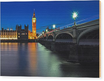Big Ben And Westminster Bridge Wood Print