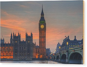 Big Ben Parliament And A Sunset Wood Print