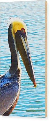 Big Bill - Pelican Art By Sharon Cummings Wood Print by Sharon Cummings