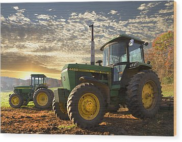 Big Boys' Toys Wood Print by Debra and Dave Vanderlaan