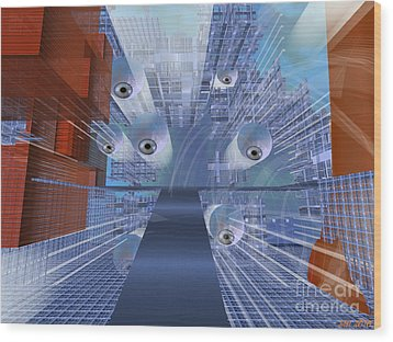 Wood Print featuring the digital art Big Brother Is Watching by Susanne Baumann
