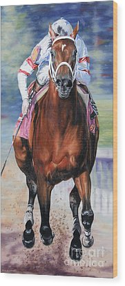 Big Brown Charging Down The Stretch Wood Print by Thomas Allen Pauly