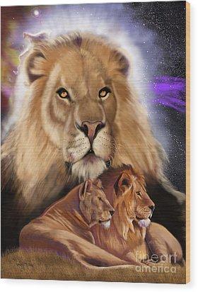 Third In The Big Cat Series - Lion Wood Print by Thomas J Herring