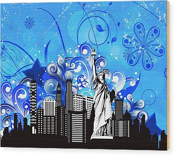 Big City Blues 4 Liberty Wood Print by Stanley Mathis