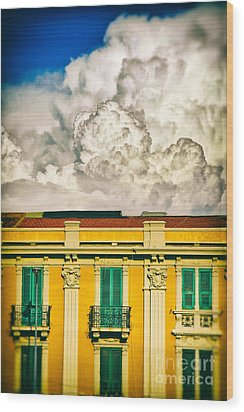 Wood Print featuring the photograph Big Cloud Over City Building by Silvia Ganora
