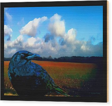 Big Daddy Crow Series Silent Watcher Wood Print by Lesa Fine
