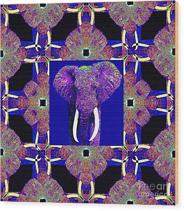 Big Elephant Abstract Window 20130201m118 Wood Print by Wingsdomain Art and Photography