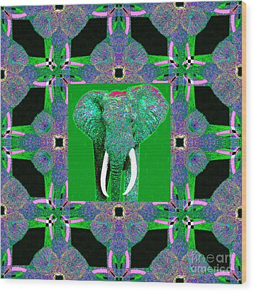 Big Elephant Abstract Window 20130201p128 Wood Print by Wingsdomain Art and Photography