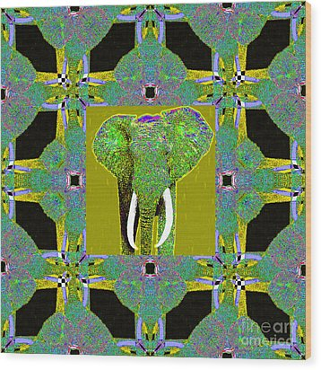 Big Elephant Abstract Window 20130201p60 Wood Print by Wingsdomain Art and Photography