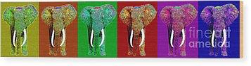 Big Elephant Six 20130201 Wood Print by Wingsdomain Art and Photography