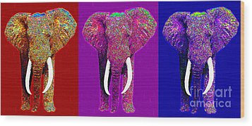 Big Elephant Three 20130201v2 Wood Print by Wingsdomain Art and Photography