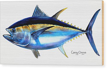 Big Eye Tuna Wood Print by Carey Chen