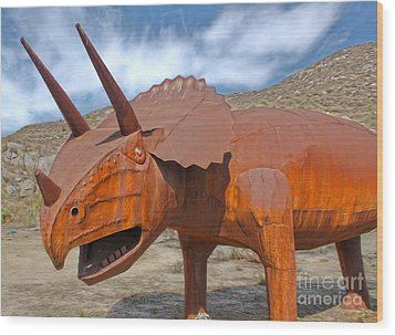 Big Fake Dinosaur - Triceratops Wood Print by Gregory Dyer