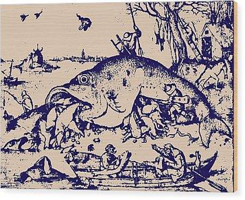 Big Fish Eat Little Fish Wood Print by