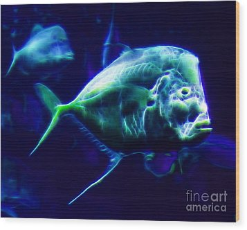Big Fish Small Fish - Electric Wood Print by Wingsdomain Art and Photography