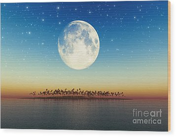 Big Full Moon Behind Island Wood Print by Aleksey Tugolukov
