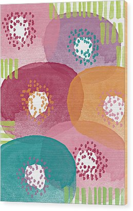 Big Garden Blooms- Abstract Florwer Art Wood Print by Linda Woods