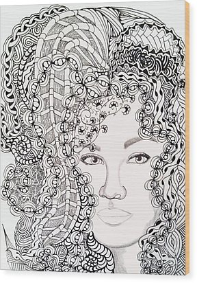 Big Hair Wood Print