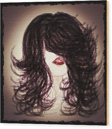 Big Hair Rocks Wood Print by Go Inspire Beauty