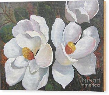 Big Magnolias Wood Print