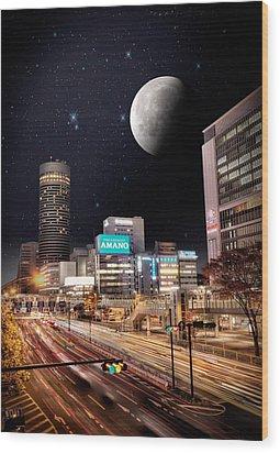 Big Moon Yokohama Wood Print