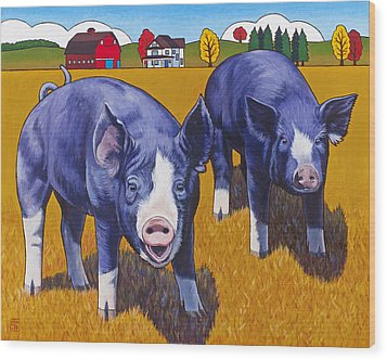 Big Pigs Wood Print by Stacey Neumiller