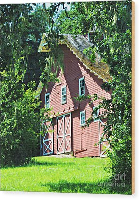 Wood Print featuring the photograph Big Red Barn by Mindy Bench