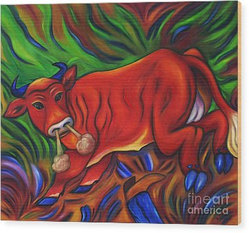 Wood Print featuring the painting Big Red Bull Bucks by Dianne  Connolly