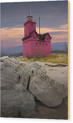 Big Red Lighthouse By Holland Michigan Wood Print by Randall Nyhof