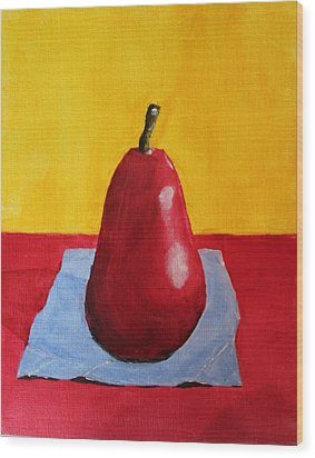 Wood Print featuring the painting Big Red Pear by Melvin Turner
