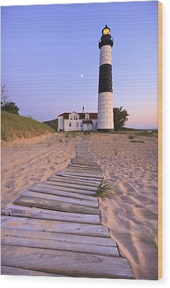 Big Sable Point Lighthouse Wood Print by Adam Romanowicz