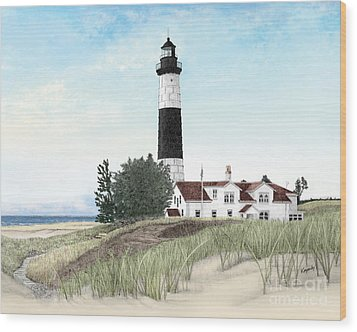 Big Sable Point Lighthouse Wood Print by Darren Kopecky