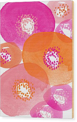 Big Spring Flowers- Contemporary Watercolor Painting Wood Print by Linda Woods