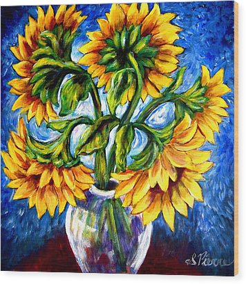 Big Sunflowers Wood Print