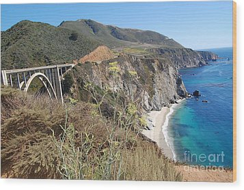 Wood Print featuring the photograph Big Sur Bixby Bridge And Beach by Debra Thompson