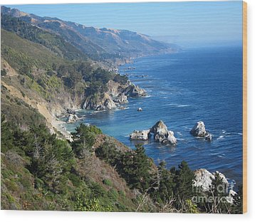 Wood Print featuring the photograph Big Sur Coast Ca by Debra Thompson