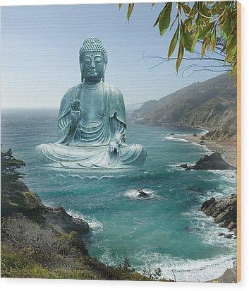 Big Sur Tea Garden Buddha Wood Print by Alixandra Mullins